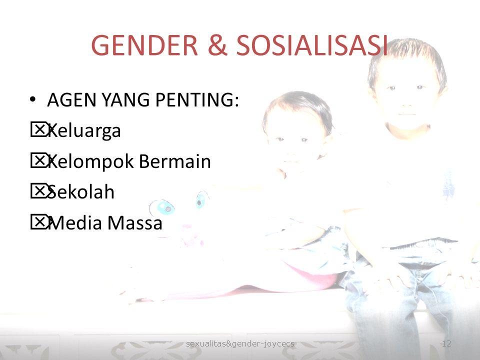 GENDER & SOSIALISASI AGEN YANG PENTING:  Keluarga  Kelompok Bermain  Sekolah  Media Massa sexualitas&gender-joycecs12