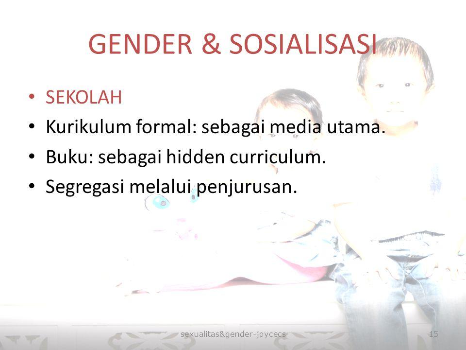 GENDER & SOSIALISASI SEKOLAH Kurikulum formal: sebagai media utama. Buku: sebagai hidden curriculum. Segregasi melalui penjurusan. sexualitas&gender-j