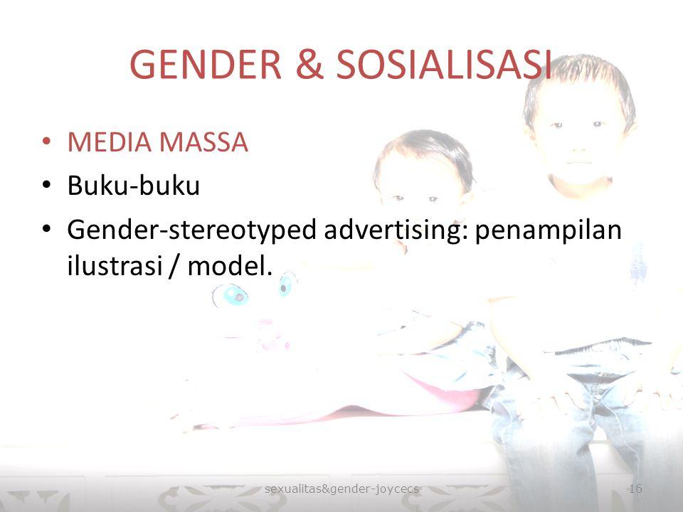 GENDER & SOSIALISASI MEDIA MASSA Buku-buku Gender-stereotyped advertising: penampilan ilustrasi / model. sexualitas&gender-joycecs16