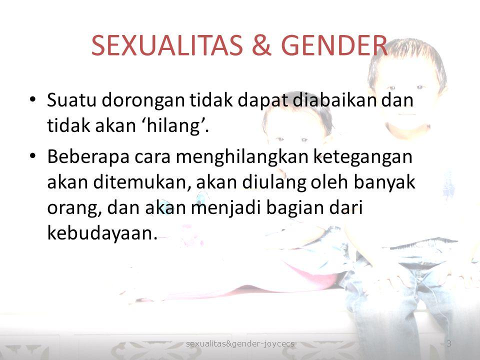 SEXUALITAS & GENDER Suatu dorongan tidak dapat diabaikan dan tidak akan 'hilang'. Beberapa cara menghilangkan ketegangan akan ditemukan, akan diulang