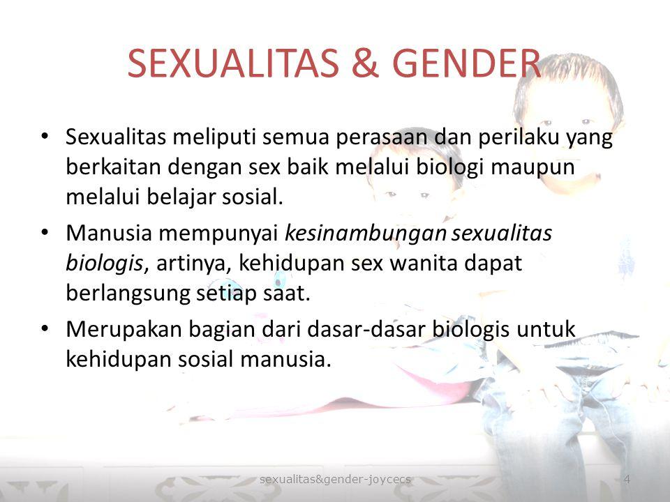 SEXUALITAS & GENDER Sexualitas meliputi semua perasaan dan perilaku yang berkaitan dengan sex baik melalui biologi maupun melalui belajar sosial. Manu