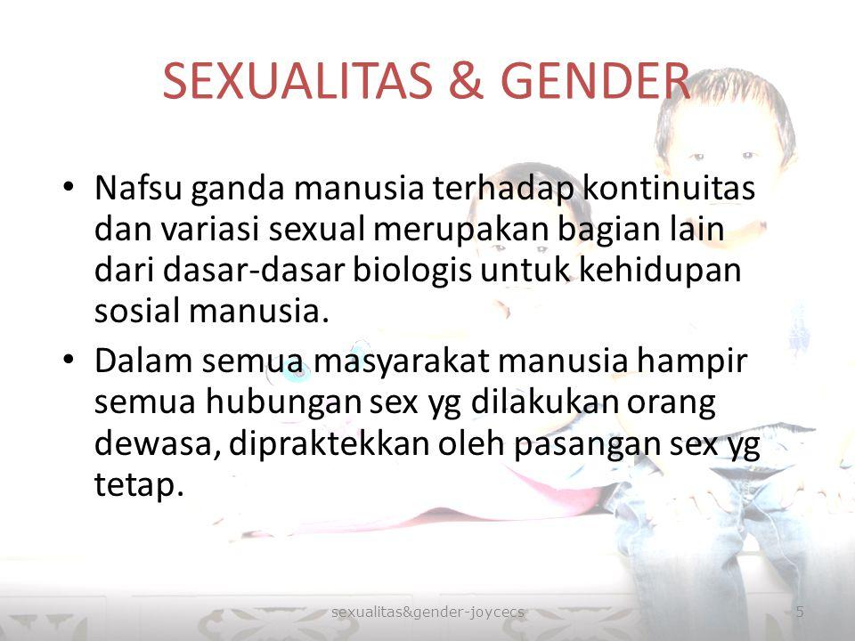 SEXUALITAS & GENDER Nafsu ganda manusia terhadap kontinuitas dan variasi sexual merupakan bagian lain dari dasar-dasar biologis untuk kehidupan sosial