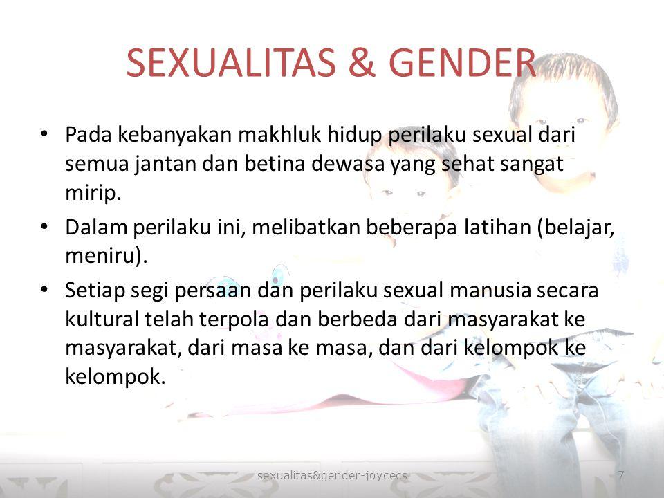 SEXUALITAS & GENDER Pada kebanyakan makhluk hidup perilaku sexual dari semua jantan dan betina dewasa yang sehat sangat mirip. Dalam perilaku ini, mel