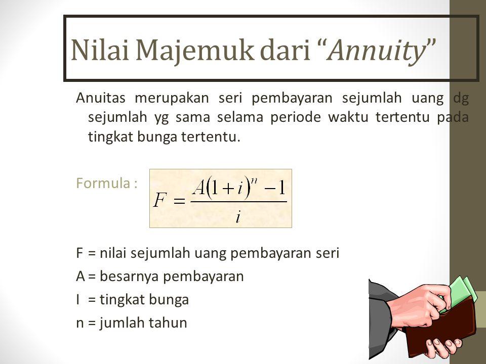 Nilai Majemuk dari Annuity Anuitas merupakan seri pembayaran sejumlah uang dg sejumlah yg sama selama periode waktu tertentu pada tingkat bunga tertentu.