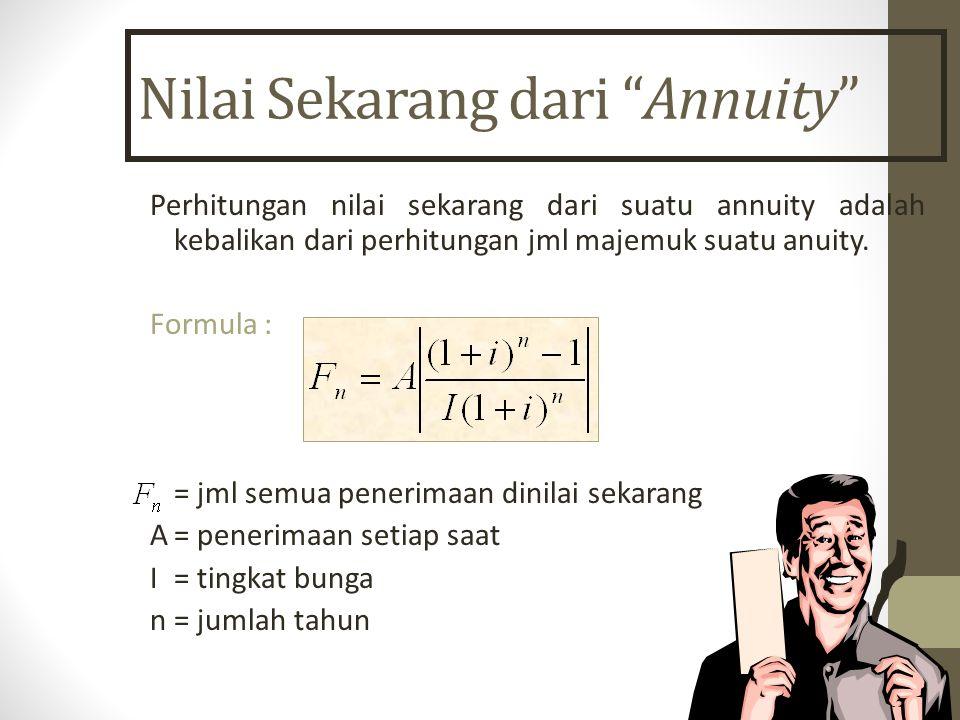 """Nilai Sekarang dari """"Annuity"""" Perhitungan nilai sekarang dari suatu annuity adalah kebalikan dari perhitungan jml majemuk suatu anuity. Formula : = jm"""