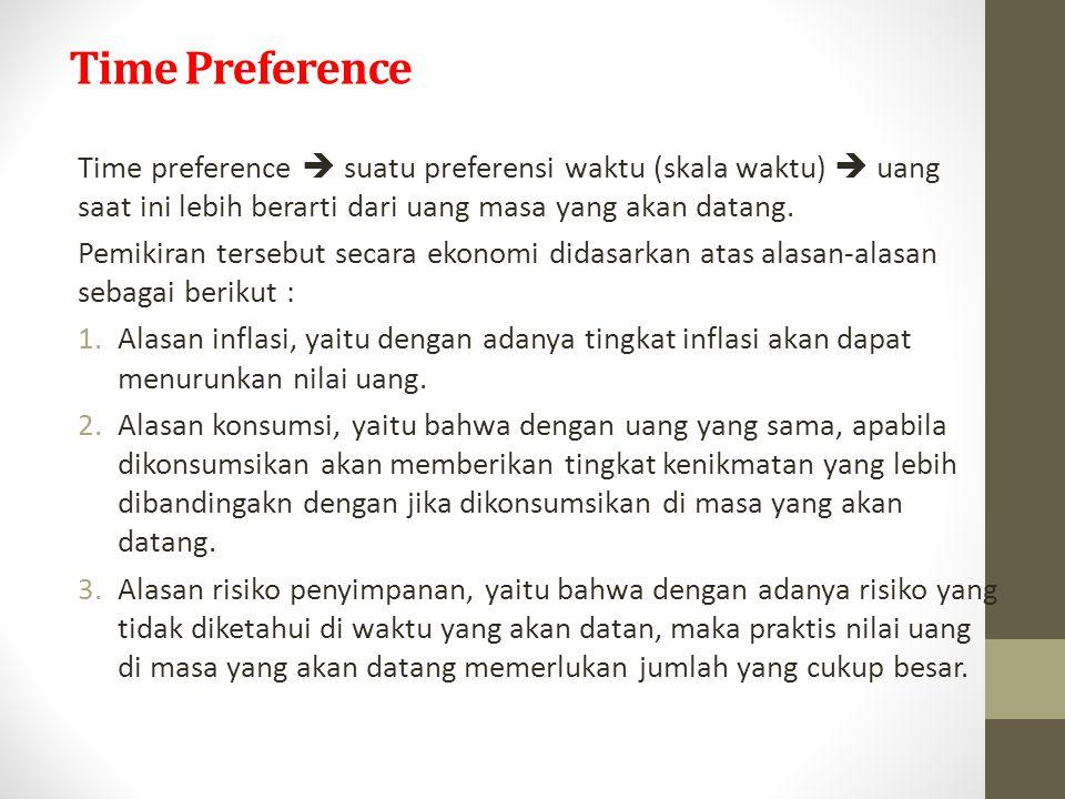 Time Preference Time preference  suatu preferensi waktu (skala waktu)  uang saat ini lebih berarti dari uang masa yang akan datang. Pemikiran terseb
