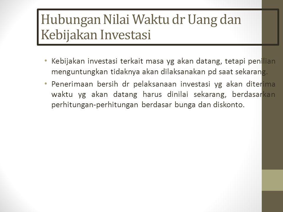 Hubungan Nilai Waktu dr Uang dan Kebijakan Investasi Kebijakan investasi terkait masa yg akan datang, tetapi penilian menguntungkan tidaknya akan dilaksanakan pd saat sekarang.