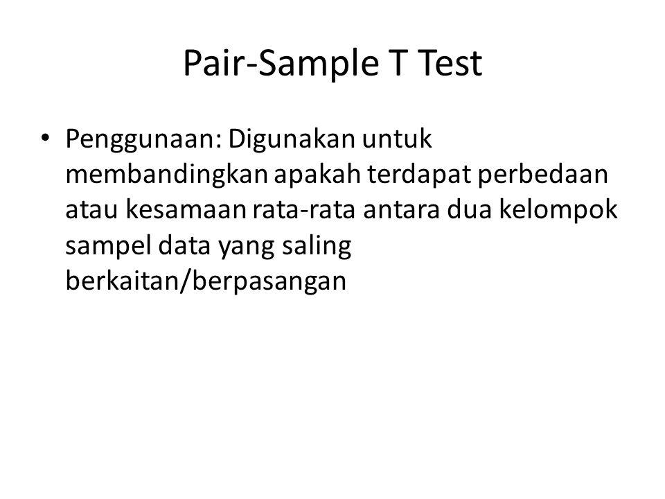 Pair-Sample T Test Penggunaan: Digunakan untuk membandingkan apakah terdapat perbedaan atau kesamaan rata-rata antara dua kelompok sampel data yang sa