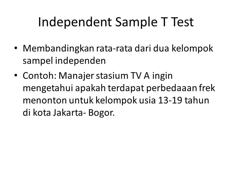 Independent Sample T Test Membandingkan rata-rata dari dua kelompok sampel independen Contoh: Manajer stasium TV A ingin mengetahui apakah terdapat pe