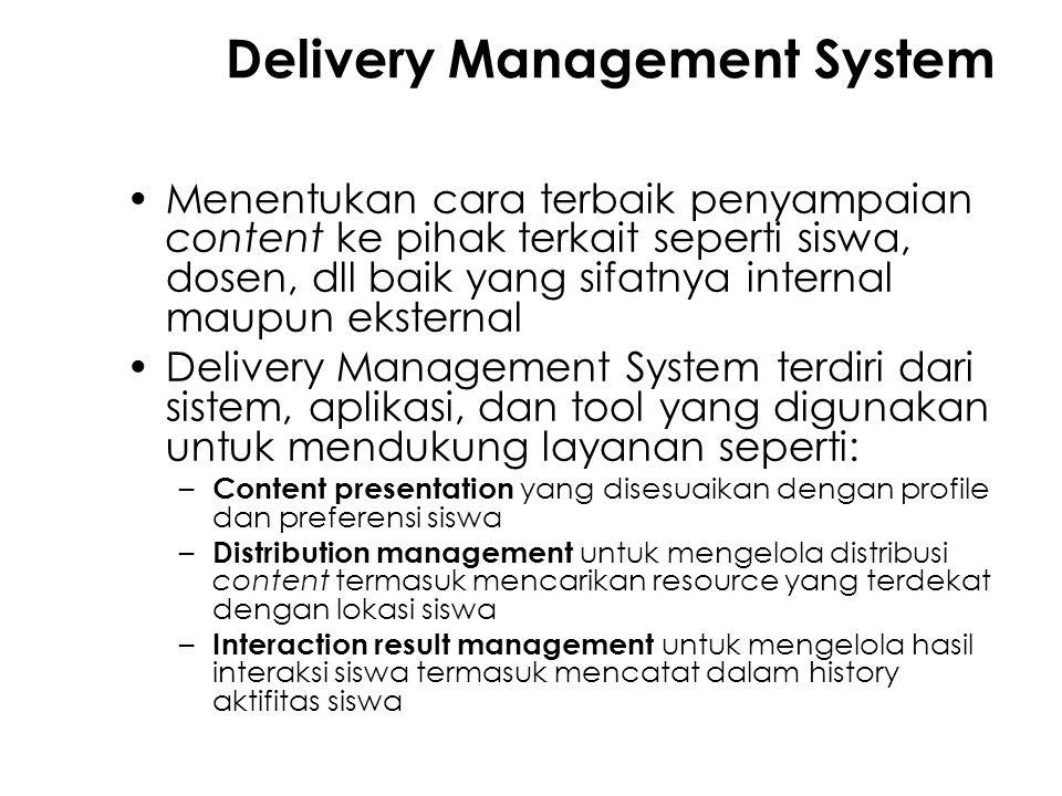 Delivery Management System Menentukan cara terbaik penyampaian content ke pihak terkait seperti siswa, dosen, dll baik yang sifatnya internal maupun e