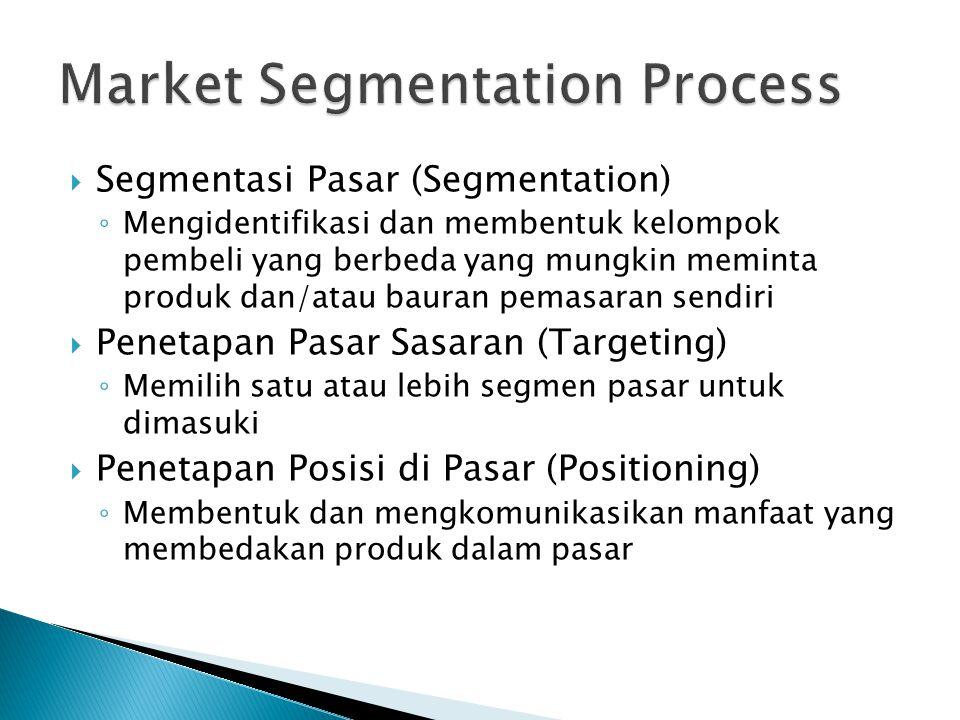  Segmentasi Pasar (Segmentation) ◦ Mengidentifikasi dan membentuk kelompok pembeli yang berbeda yang mungkin meminta produk dan/atau bauran pemasaran sendiri  Penetapan Pasar Sasaran (Targeting) ◦ Memilih satu atau lebih segmen pasar untuk dimasuki  Penetapan Posisi di Pasar (Positioning) ◦ Membentuk dan mengkomunikasikan manfaat yang membedakan produk dalam pasar