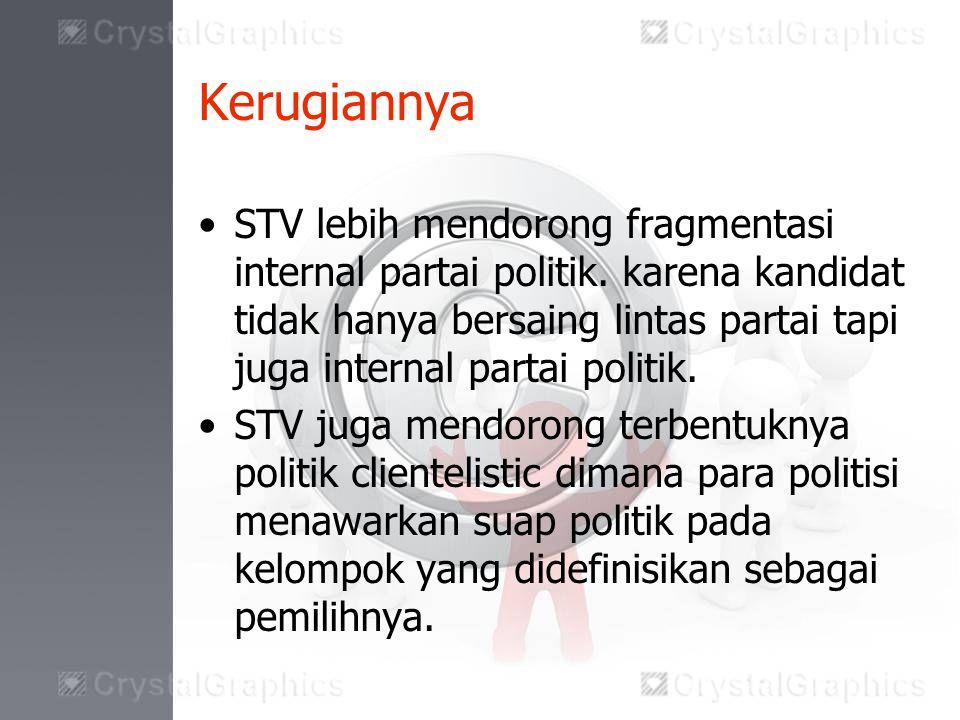 Kerugiannya STV lebih mendorong fragmentasi internal partai politik.