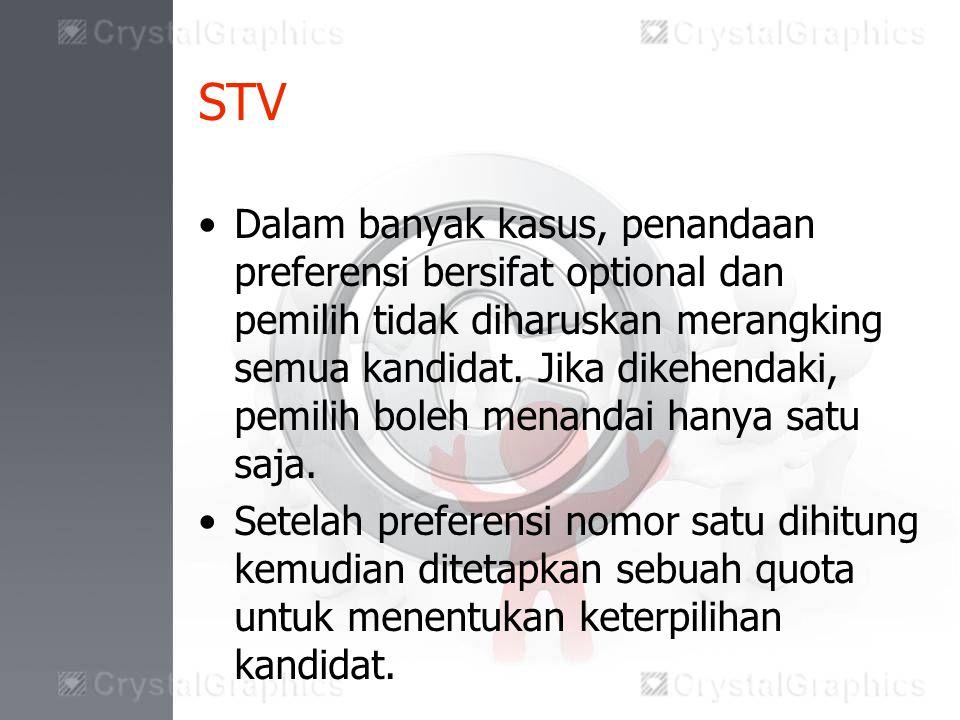 STV Dalam banyak kasus, penandaan preferensi bersifat optional dan pemilih tidak diharuskan merangking semua kandidat.