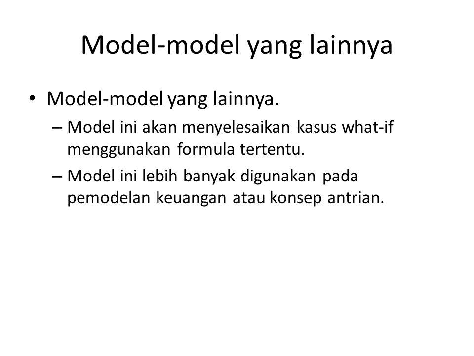 Model-model yang lainnya Model-model yang lainnya. – Model ini akan menyelesaikan kasus what-if menggunakan formula tertentu. – Model ini lebih banyak