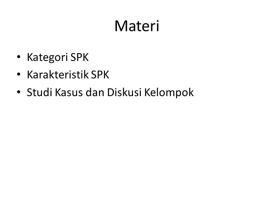 Kategori SPK Turban (2005) mengkategorikan model sistem pendukung keputusan dalam tujuh model, yaitu: – Model optimasi untuk masalah-masalah dengan alternatif-alternatif dalam jumlah relatif kecil.