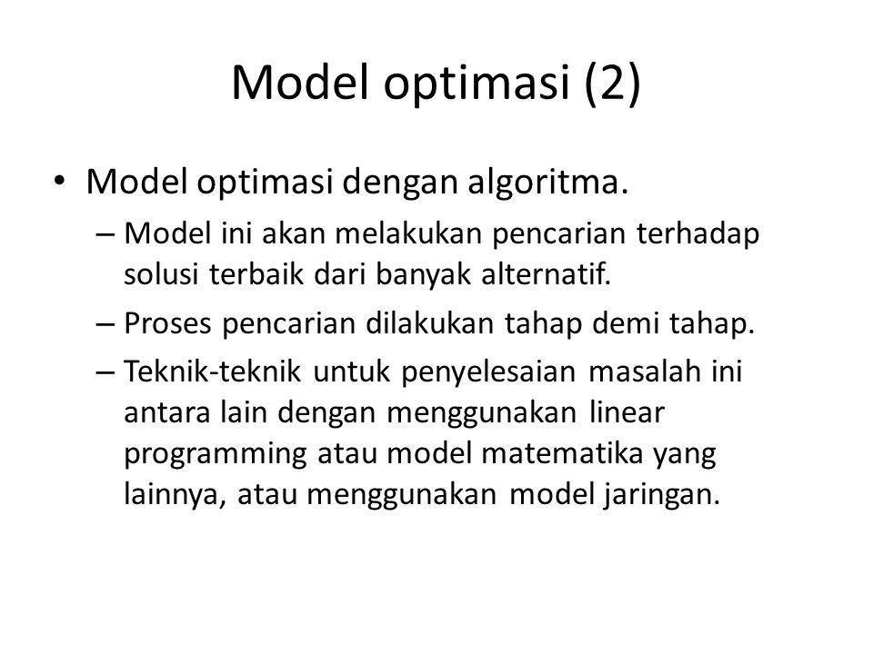 Model optimasi (3) Model optimasi dengan formula analitik.