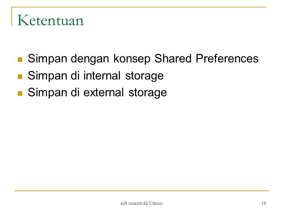 Ketentuan Simpan dengan konsep Shared Preferences Simpan di internal storage Simpan di external storage ajib susanto fik Udinus 18