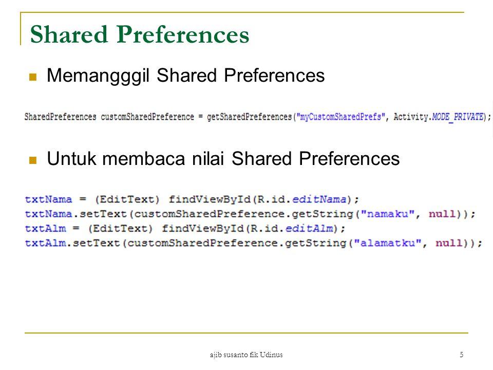 ajib susanto fik Udinus 5 Shared Preferences Memangggil Shared Preferences Untuk membaca nilai Shared Preferences