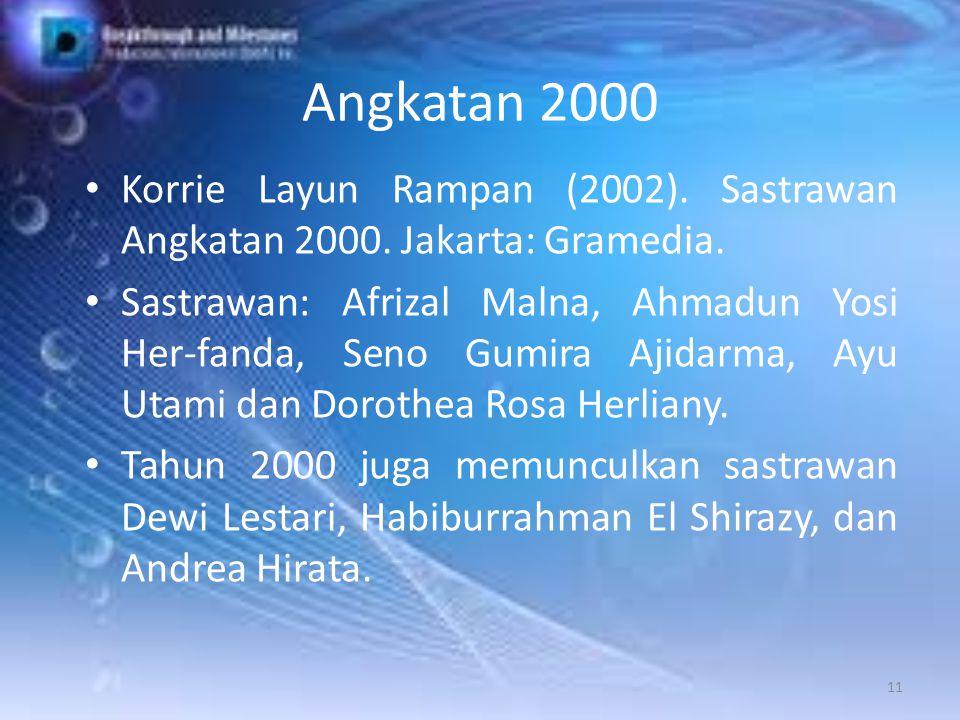 Angkatan 2000 Korrie Layun Rampan (2002). Sastrawan Angkatan 2000. Jakarta: Gramedia. Sastrawan: Afrizal Malna, Ahmadun Yosi Her-fanda, Seno Gumira Aj
