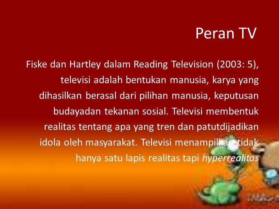 Peran TV Fiske dan Hartley dalam Reading Television (2003: 5), televisi adalah bentukan manusia, karya yang dihasilkan berasal dari pilihan manusia, k