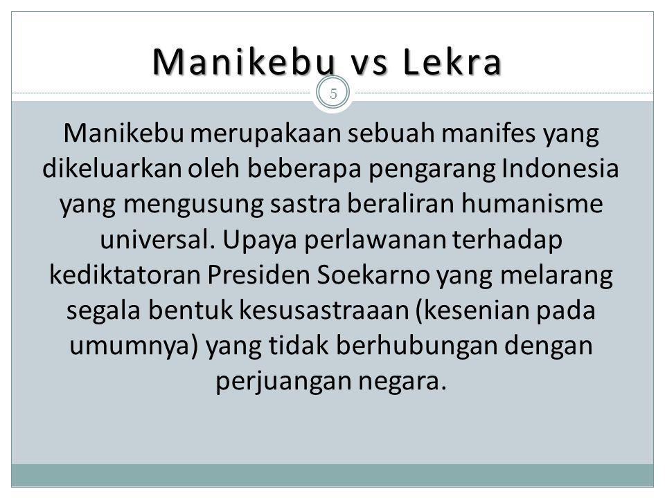 Manikebu vs Lekra Manikebu merupakaan sebuah manifes yang dikeluarkan oleh beberapa pengarang Indonesia yang mengusung sastra beraliran humanisme univ