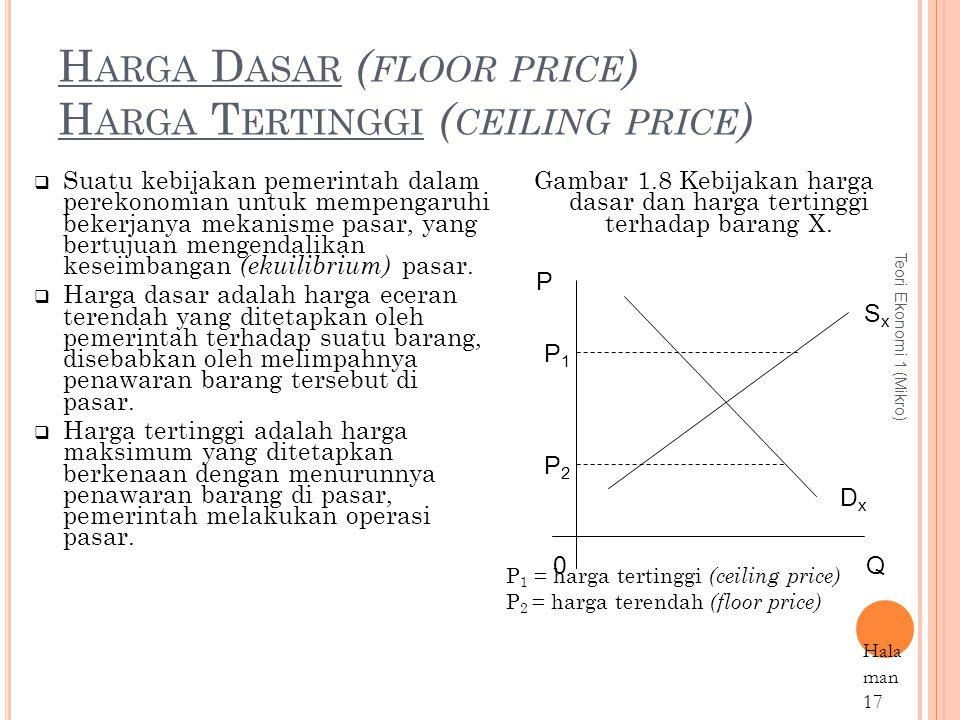 H ARGA D ASAR ( FLOOR PRICE ) H ARGA T ERTINGGI ( CEILING PRICE ) Teori Ekonomi 1 (Mikro) Hala man 17  Suatu kebijakan pemerintah dalam perekonomian