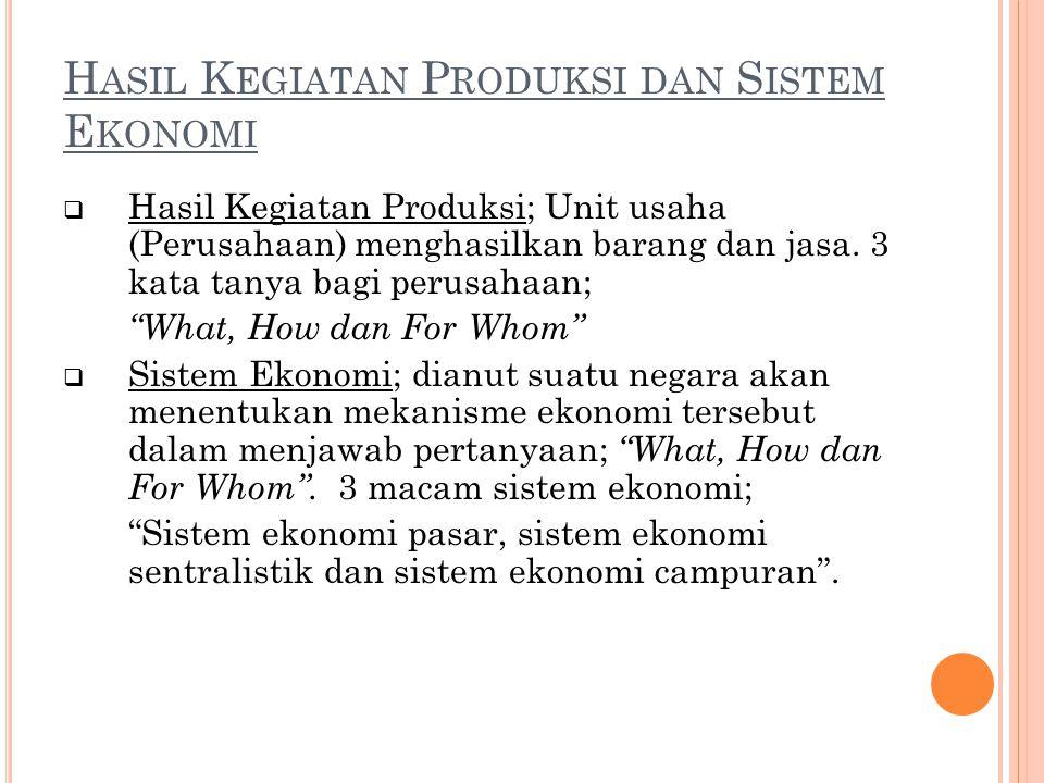 H ASIL K EGIATAN P RODUKSI DAN S ISTEM E KONOMI  Hasil Kegiatan Produksi; Unit usaha (Perusahaan) menghasilkan barang dan jasa. 3 kata tanya bagi per