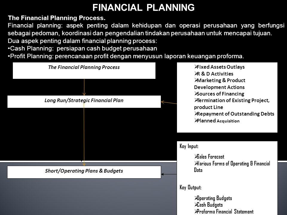 FINANCIAL PLANNING The Financial Planning Process. Financial planning: aspek penting dalam kehidupan dan operasi perusahaan yang berfungsi sebagai ped