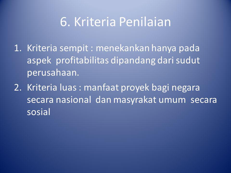 6. Kriteria Penilaian 1.Kriteria sempit : menekankan hanya pada aspek profitabilitas dipandang dari sudut perusahaan. 2.Kriteria luas : manfaat proyek
