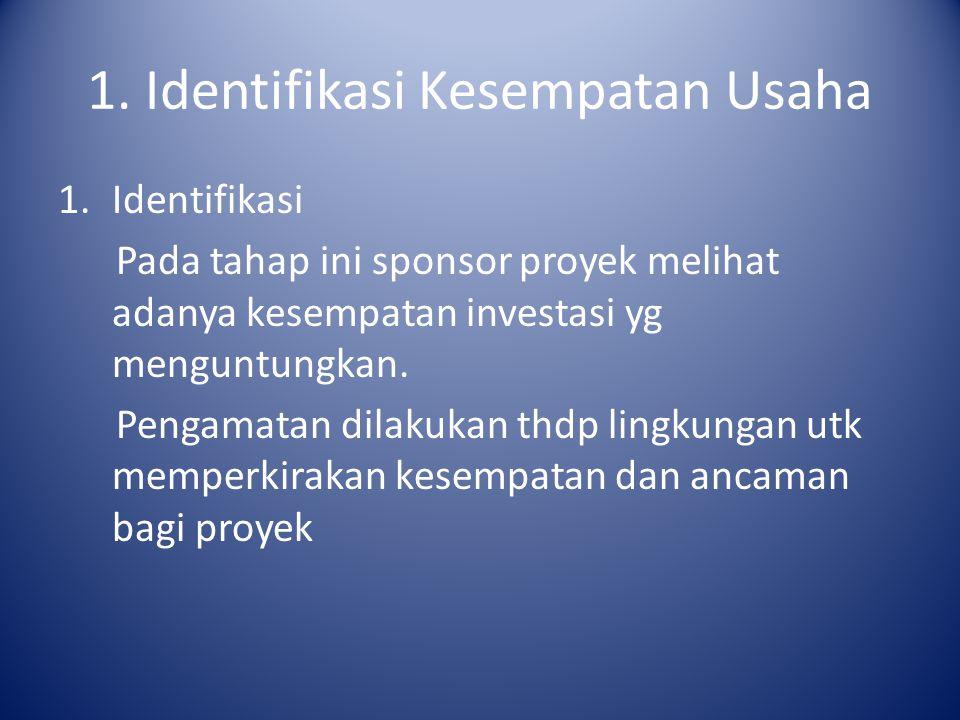 1. Identifikasi Kesempatan Usaha 1.Identifikasi Pada tahap ini sponsor proyek melihat adanya kesempatan investasi yg menguntungkan. Pengamatan dilakuk