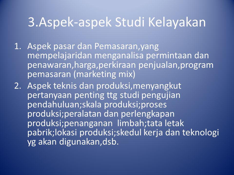 3.Aspek-aspek Studi Kelayakan 1.Aspek pasar dan Pemasaran,yang mempelajaridan menganalisa permintaan dan penawaran,harga,perkiraan penjualan,program p