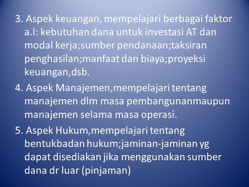 3. Aspek keuangan, mempelajari berbagai faktor a.l: kebutuhan dana untuk investasi AT dan modal kerja;sumber pendanaan;taksiran penghasilan;manfaat da