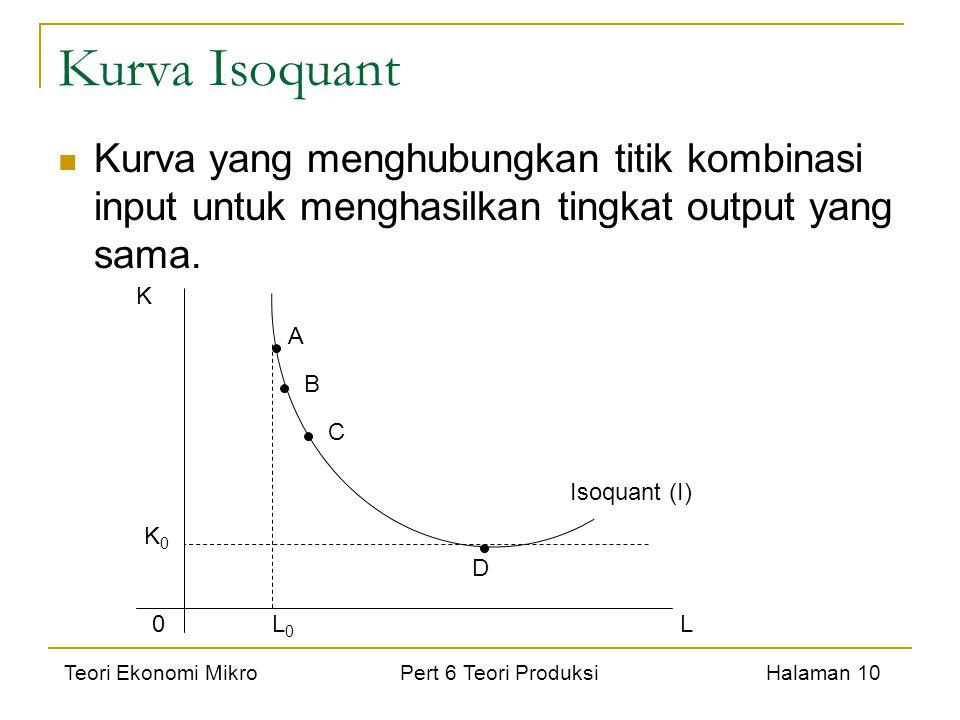 Teori Ekonomi Mikro Pert 6 Teori Produksi Halaman 10 Kurva Isoquant Kurva yang menghubungkan titik kombinasi input untuk menghasilkan tingkat output y