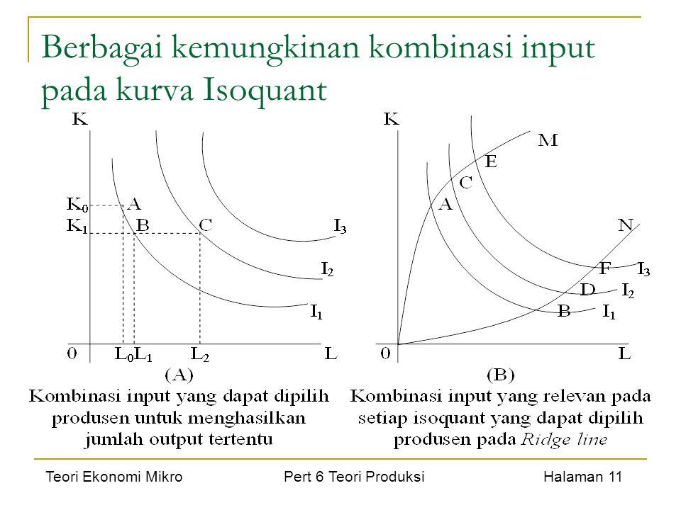 Teori Ekonomi Mikro Pert 6 Teori Produksi Halaman 11 Berbagai kemungkinan kombinasi input pada kurva Isoquant