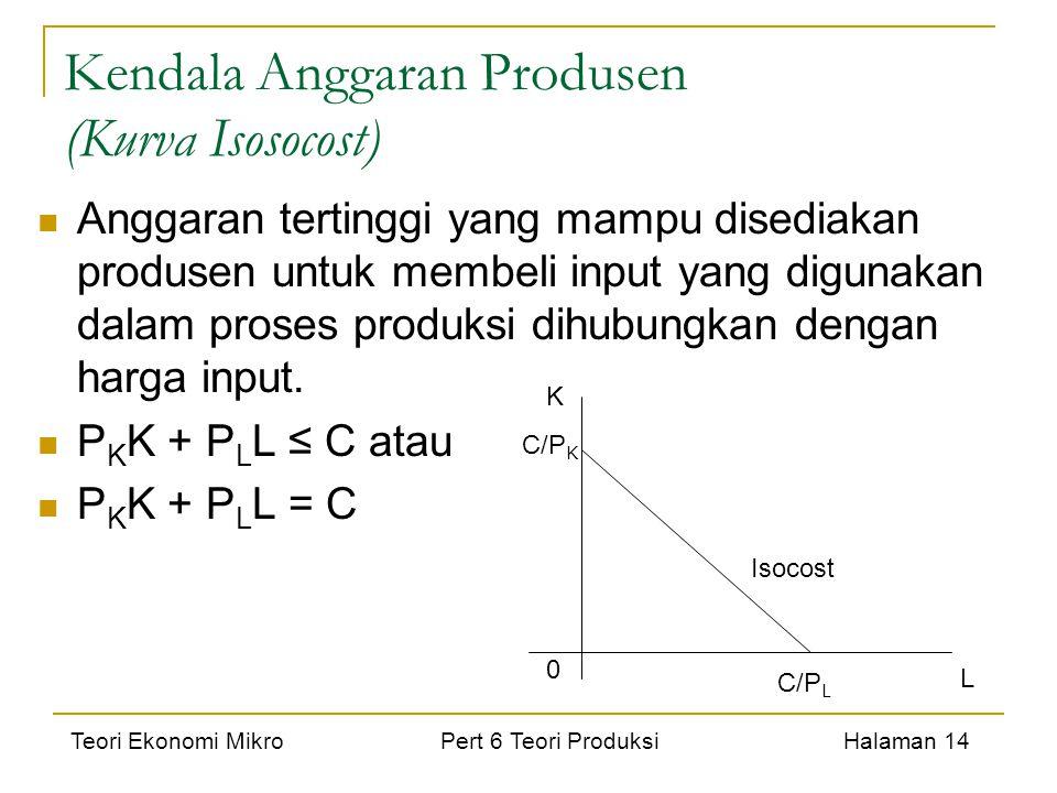 Teori Ekonomi Mikro Pert 6 Teori Produksi Halaman 14 Kendala Anggaran Produsen (Kurva Isosocost) Anggaran tertinggi yang mampu disediakan produsen unt