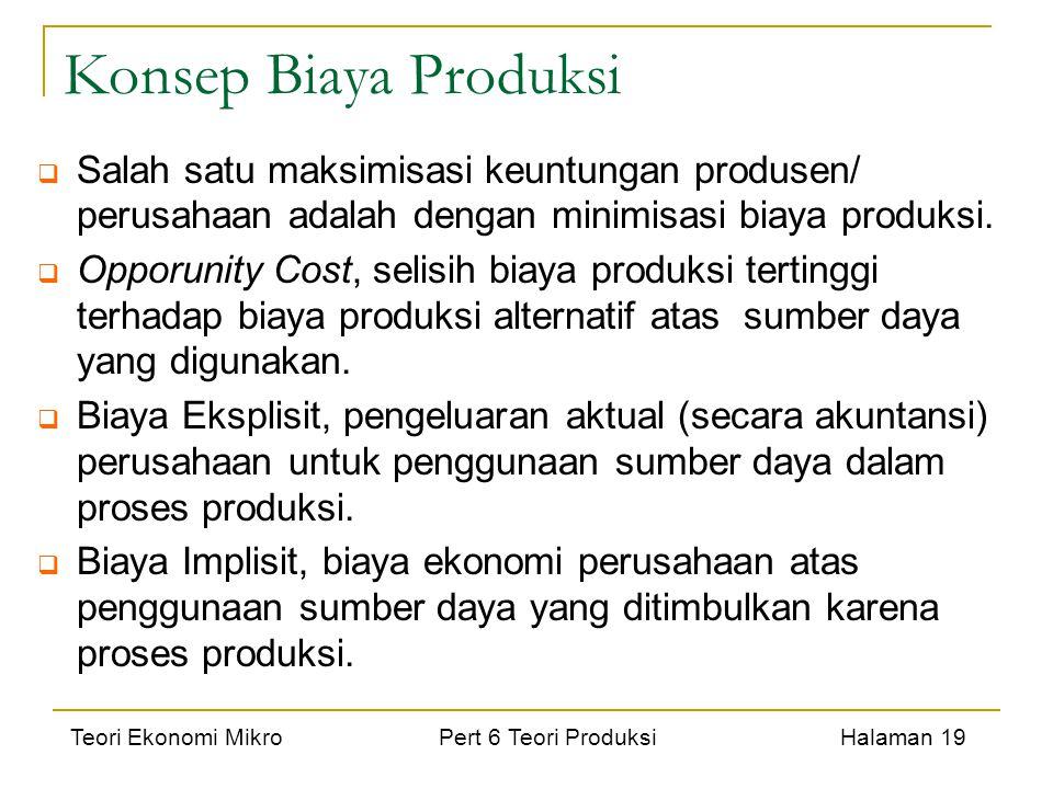 Teori Ekonomi Mikro Pert 6 Teori Produksi Halaman 19 Konsep Biaya Produksi  Salah satu maksimisasi keuntungan produsen/ perusahaan adalah dengan mini
