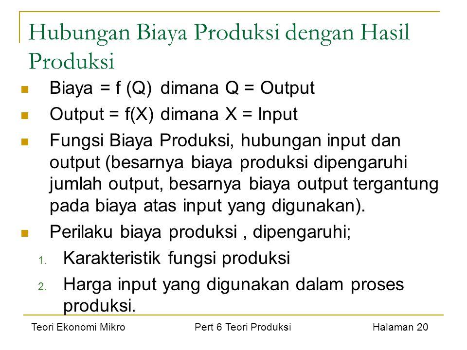 Teori Ekonomi Mikro Pert 6 Teori Produksi Halaman 20 Hubungan Biaya Produksi dengan Hasil Produksi Biaya = f (Q)dimana Q = Output Output = f(X)dimana