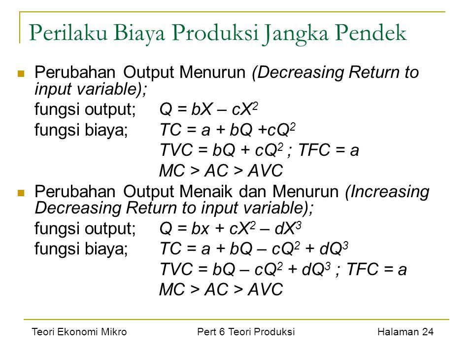 Teori Ekonomi Mikro Pert 6 Teori Produksi Halaman 24 Perilaku Biaya Produksi Jangka Pendek Perubahan Output Menurun (Decreasing Return to input variab