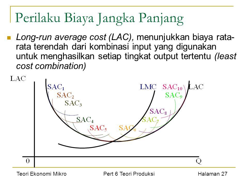 Teori Ekonomi Mikro Pert 6 Teori Produksi Halaman 27 Perilaku Biaya Jangka Panjang Long-run average cost (LAC), menunjukkan biaya rata- rata terendah