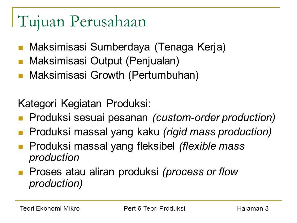 Teori Ekonomi Mikro Pert 6 Teori Produksi Halaman 3 Tujuan Perusahaan Maksimisasi Sumberdaya (Tenaga Kerja) Maksimisasi Output (Penjualan) Maksimisasi