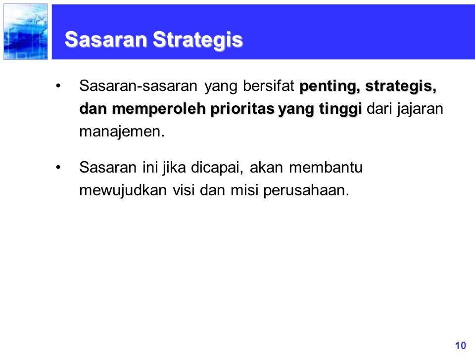 10 Sasaran Strategis penting, strategis, dan memperoleh prioritas yang tinggiSasaran-sasaran yang bersifat penting, strategis, dan memperoleh priorita