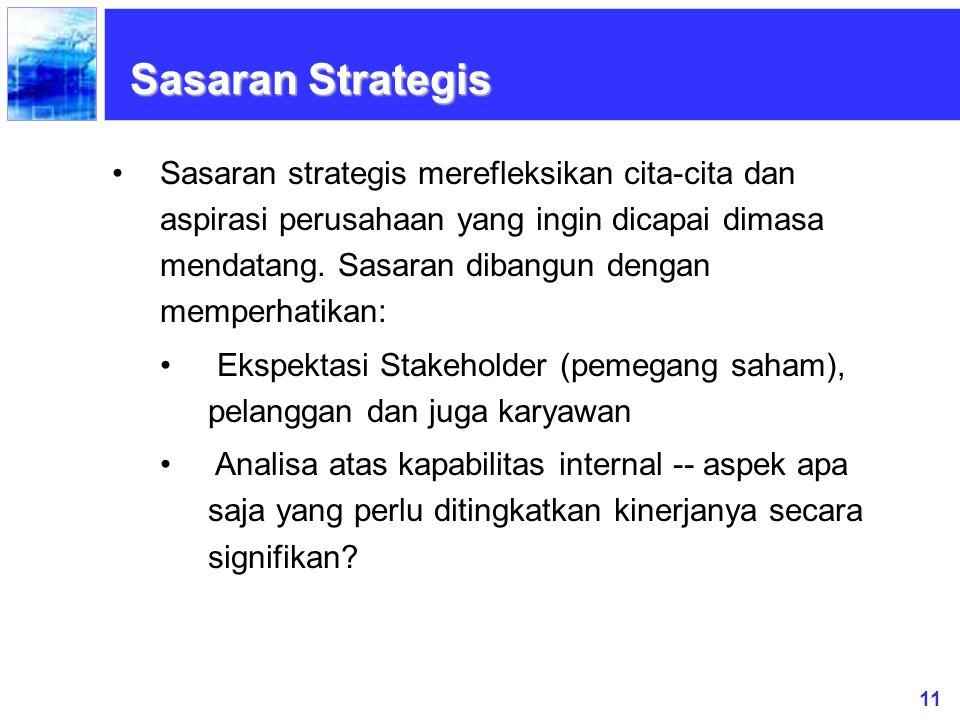 11 Sasaran Strategis Sasaran strategis merefleksikan cita-cita dan aspirasi perusahaan yang ingin dicapai dimasa mendatang. Sasaran dibangun dengan me