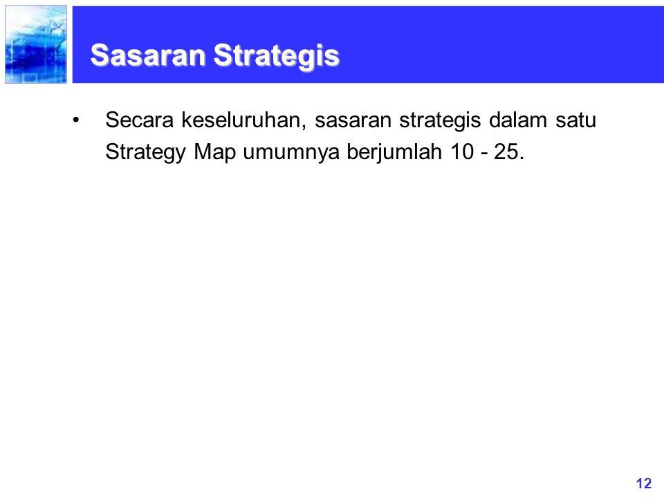 12 Secara keseluruhan, sasaran strategis dalam satu Strategy Map umumnya berjumlah 10 - 25. Sasaran Strategis
