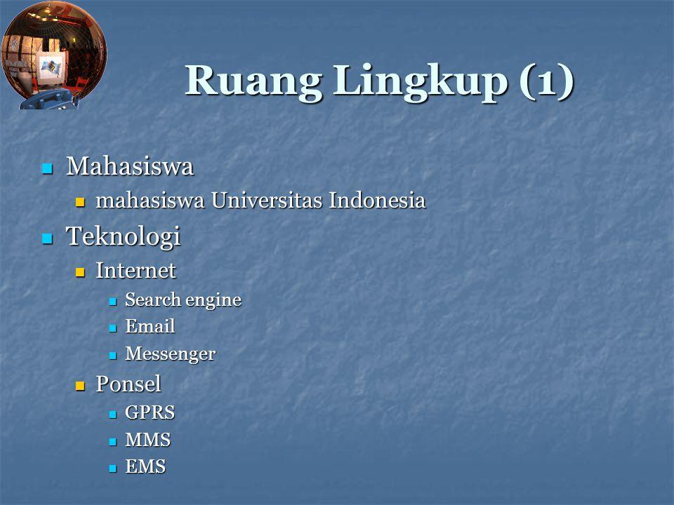 Ruang Lingkup (1) Mahasiswa Mahasiswa mahasiswa Universitas Indonesia mahasiswa Universitas Indonesia Teknologi Teknologi Internet Internet Search eng