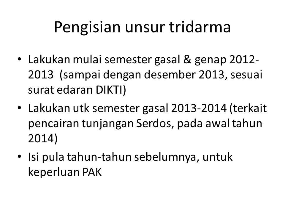 Pengisian unsur tridarma Lakukan mulai semester gasal & genap 2012- 2013 (sampai dengan desember 2013, sesuai surat edaran DIKTI) Lakukan utk semester
