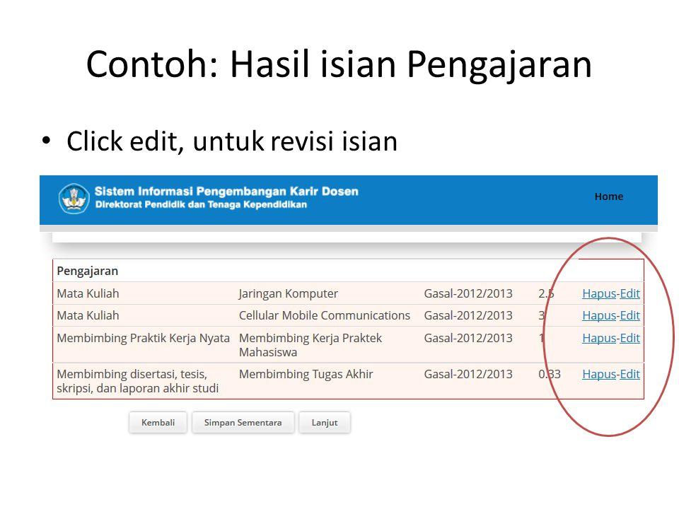 Contoh: Hasil isian Pengajaran Click edit, untuk revisi isian