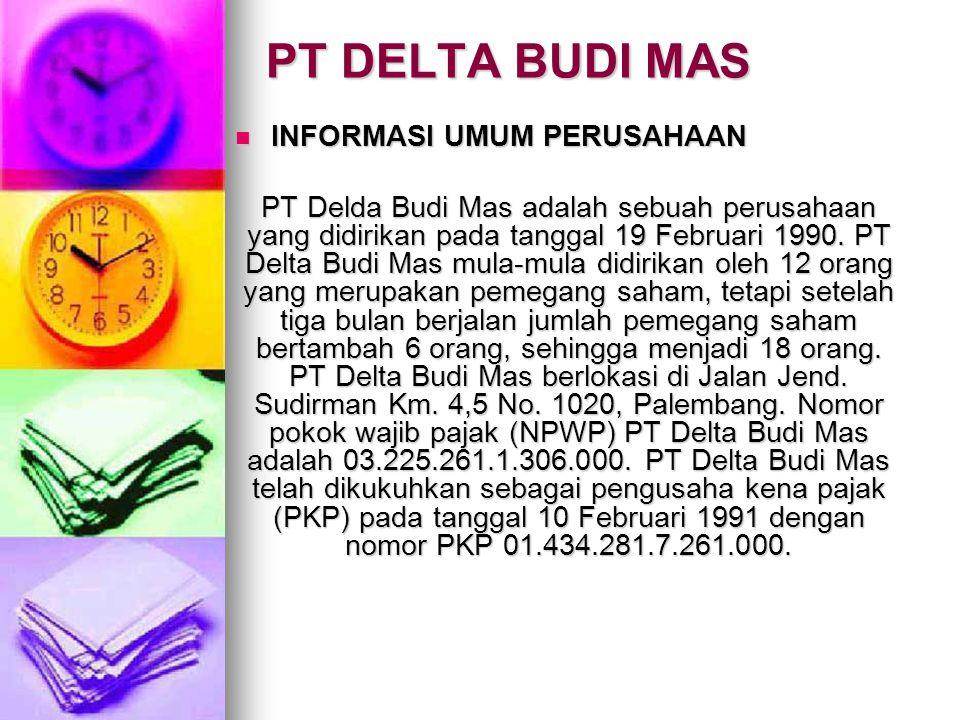 PT DELTA BUDI MAS INFORMASI UMUM PERUSAHAAN INFORMASI UMUM PERUSAHAAN PT Delda Budi Mas adalah sebuah perusahaan yang didirikan pada tanggal 19 Februa