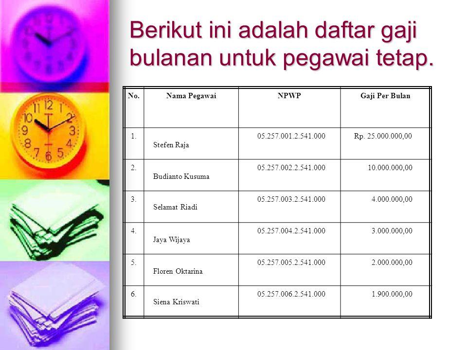 Berikut ini adalah daftar gaji bulanan untuk pegawai tetap. No.Nama PegawaiNPWPGaji Per Bulan 1. Stefen Raja 05.257.001.2.541.000Rp. 25.000.000,00 2.