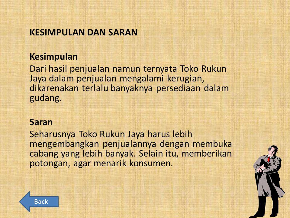 KESIMPULAN DAN SARAN Kesimpulan Dari hasil penjualan namun ternyata Toko Rukun Jaya dalam penjualan mengalami kerugian, dikarenakan terlalu banyaknya