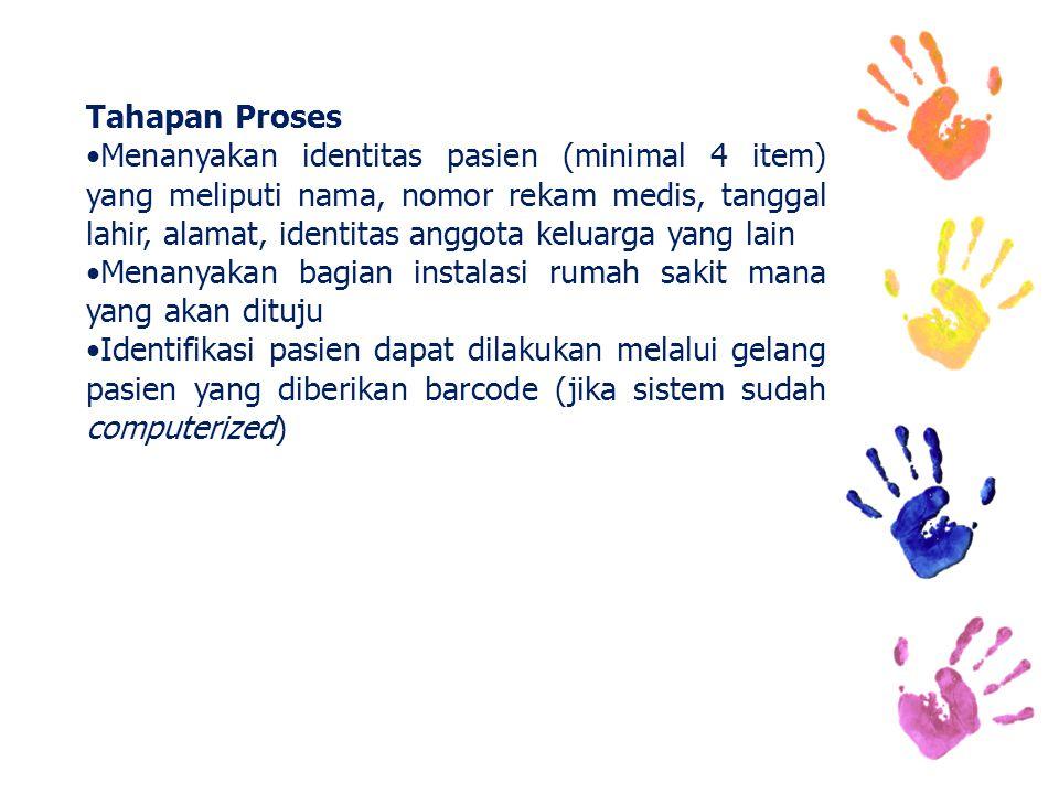 Tahapan Proses Menanyakan identitas pasien (minimal 4 item) yang meliputi nama, nomor rekam medis, tanggal lahir, alamat, identitas anggota keluarga y